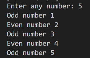 WAP to input the limit from the user and print all the even and odd numbers up to that?